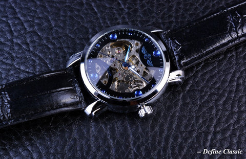 Image of Blue Ocean Engraving Design Leather Strap Skeleton Watch
