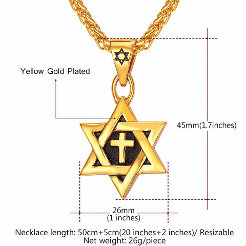 Hot Magen Star of David Cross Pendant & Necklace Gold Color Stainless Steel Women/Men Chain Israel Jewish Jewelry P819