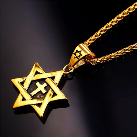 Image of Hot Magen Star of David Cross Pendant & Necklace Gold Color Stainless Steel Women/Men Chain Israel Jewish Jewelry P819