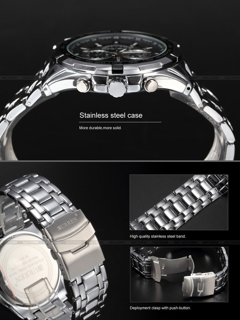 Brand Luxury full stainless steel Watch Men Business Casual quartz Watches Military Wristwatch waterproof Relogio
