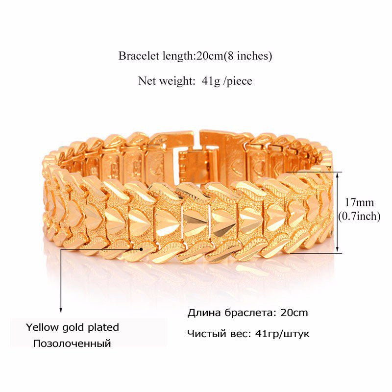 Gold Color Heart Bracelet Jewelry Wristband 17MM 20CM Chunky Big Chain Bracelets Bangles For Men Fathers Day Gifts H684