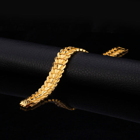 Image of Gold Color Heart Bracelet Jewelry Wristband 17MM 20CM Chunky Big Chain Bracelets Bangles For Men Fathers Day Gifts H684