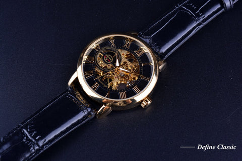 Leather Hollow Heren Horloge Skeleton Watch