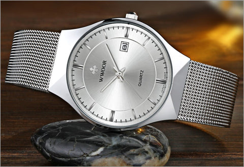New Men Watches Top Brand Luxury 50m Waterproof Ultra Thin Date Clock Male Steel Strap Casual Quartz Watch Men Wrist Sport Watch