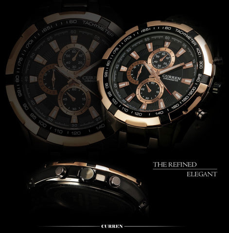 Image of Fashion Quartz Watch men full steel Clock Male Wrist watch waterproof Relogio Masculino Casual Wristwatch