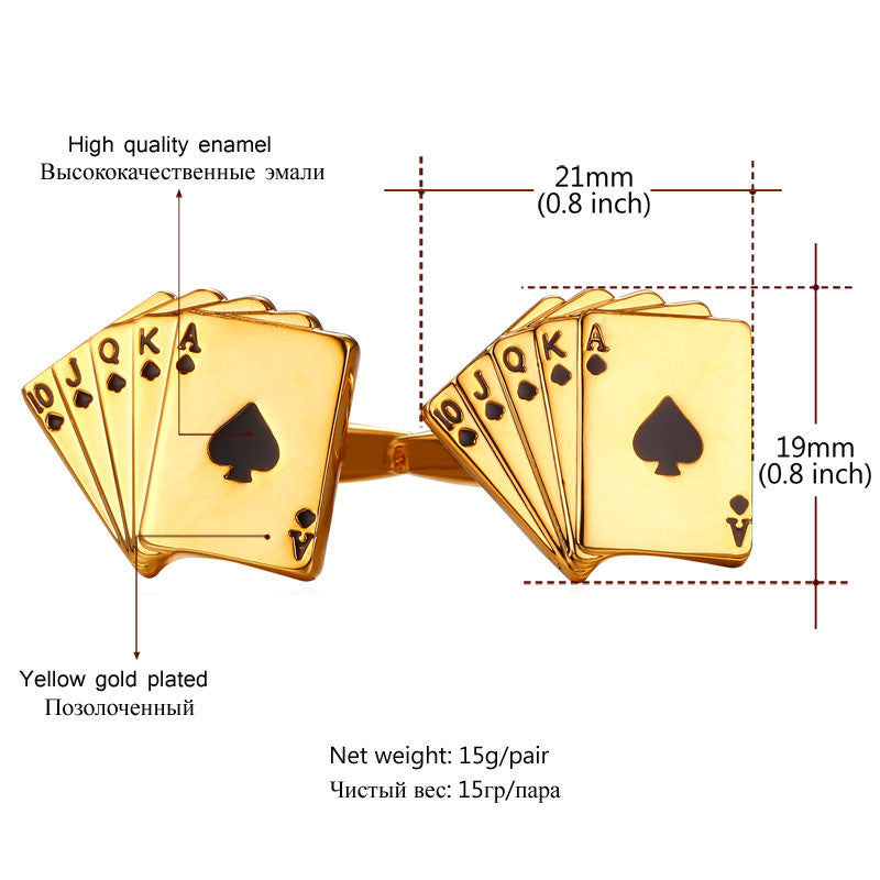 Poker Cufflinks For Mens Shirt Jewelry Accessories Wedding Gold Color Cuff Links Buttons Father's Day Gifts For Dad C029