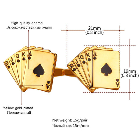 Image of Poker Cufflinks For Mens Shirt Jewelry Accessories Wedding Gold Color Cuff Links Buttons Father's Day Gifts For Dad C029