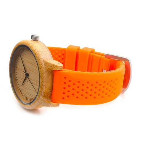 Wood Quartz Japanese Movement Inside With Soft Silicone Strap Casual Ladies Bamboo Watch