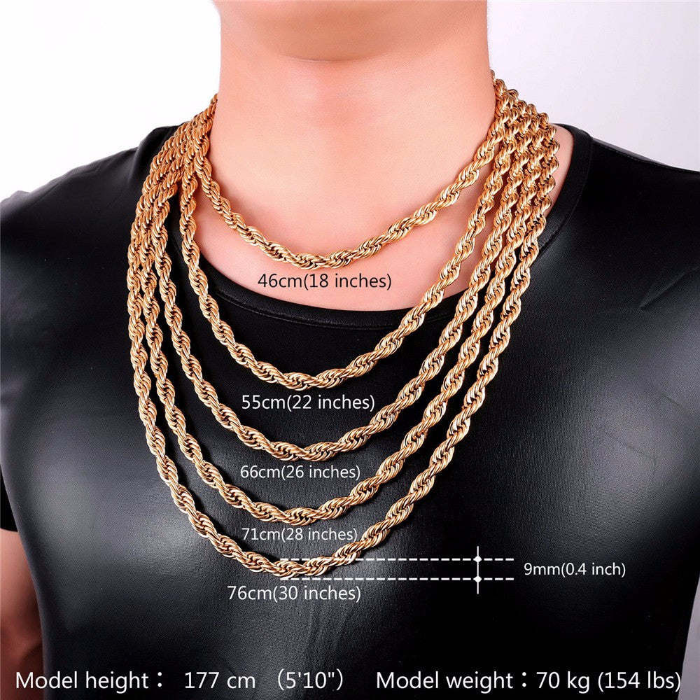 Stainless Steel Rope Chain For Men