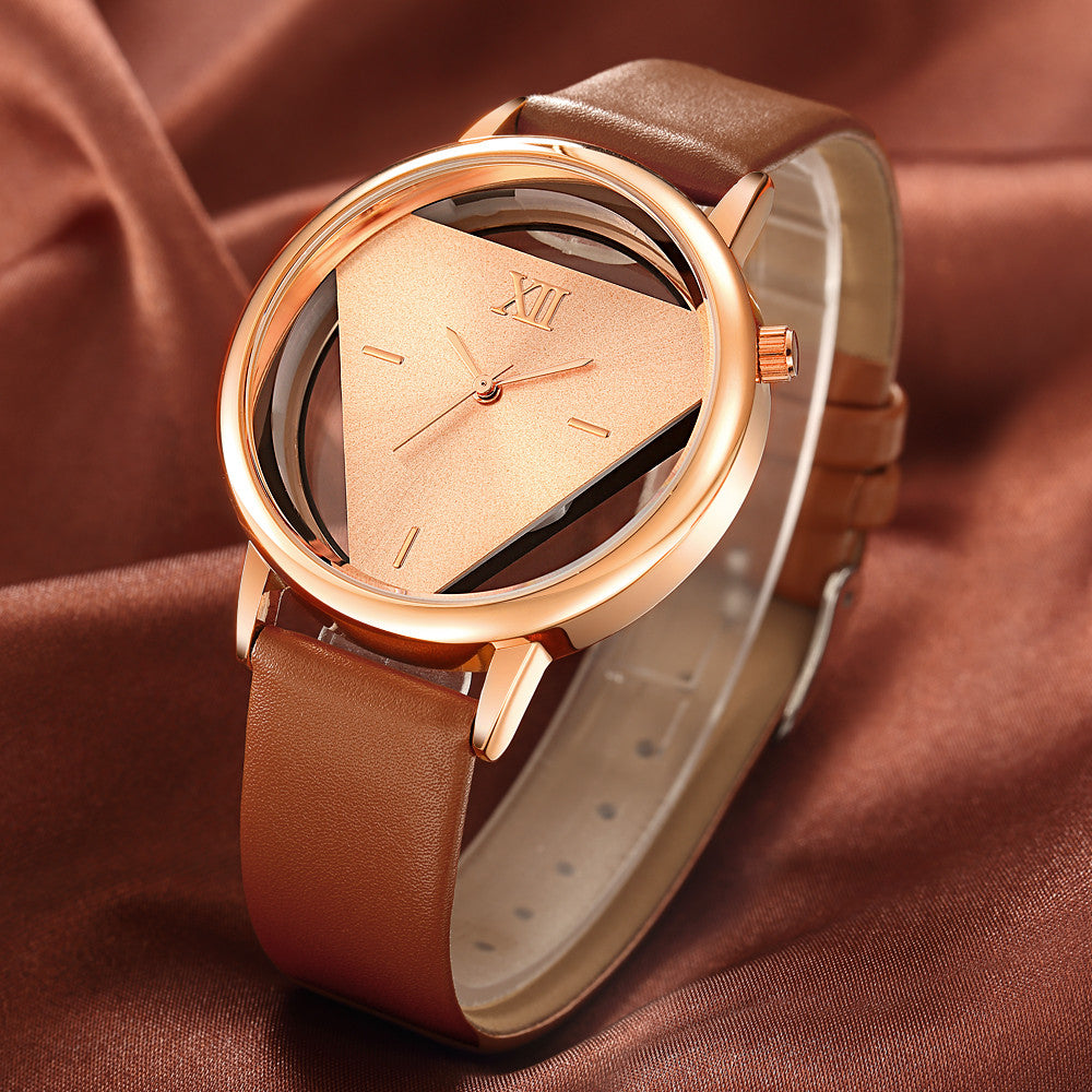 Hollow Quartz Watch Women Luxury Brand Gold Ladies Casual Dress Leather Strap Clock Female Girls Trending
