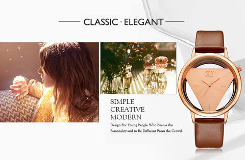 Image of Hollow Quartz Watch Women Luxury Brand Gold Ladies Casual Dress Leather Strap Clock Female Girls Trending