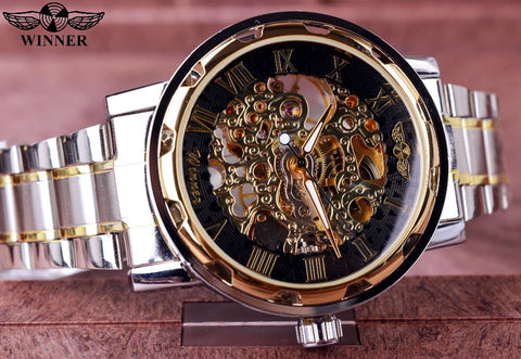 Transparent Gold Relogio Montre Homme Skeleton Watch