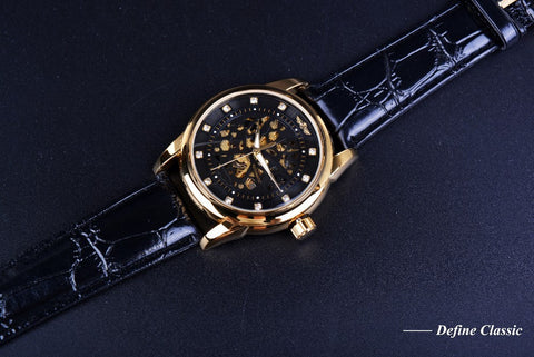 Royal Diamond Design Black Gold Skeleton Watch