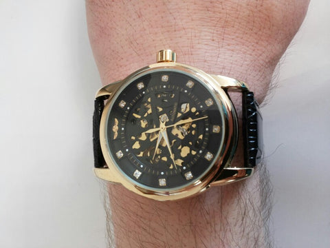 Image of Royal Diamond Design Black Gold Skeleton Watch