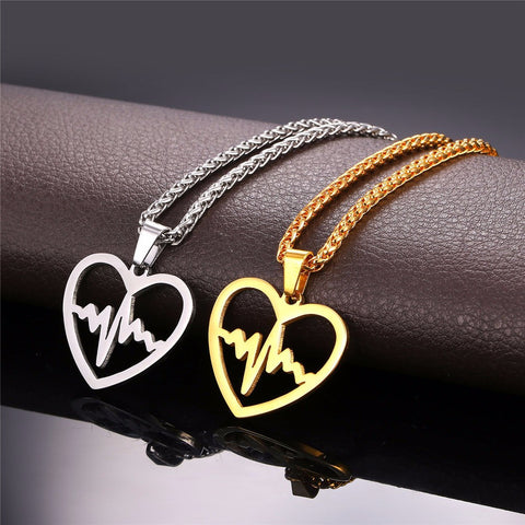 Heartbeat Necklace & Pendant For Women Trendy Gold Color Stainless Steel Heart Rate Electrocardiogram Lover Jewelry P830