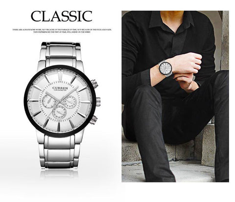 Image of Fashion Big dial Casual quartz watch Men's stainless steel Military Wristwatch waterproof Brand Relogio Masculino Male