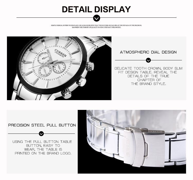 Fashion Big dial Casual quartz watch Men's stainless steel Military Wristwatch waterproof Brand Relogio Masculino Male