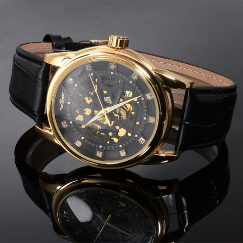 Image of Top Brand Luxury Royal Diamond Design Black Gold Watch Montre Homme Mens Watches Relogio Male Skeleton Mechanical Watch