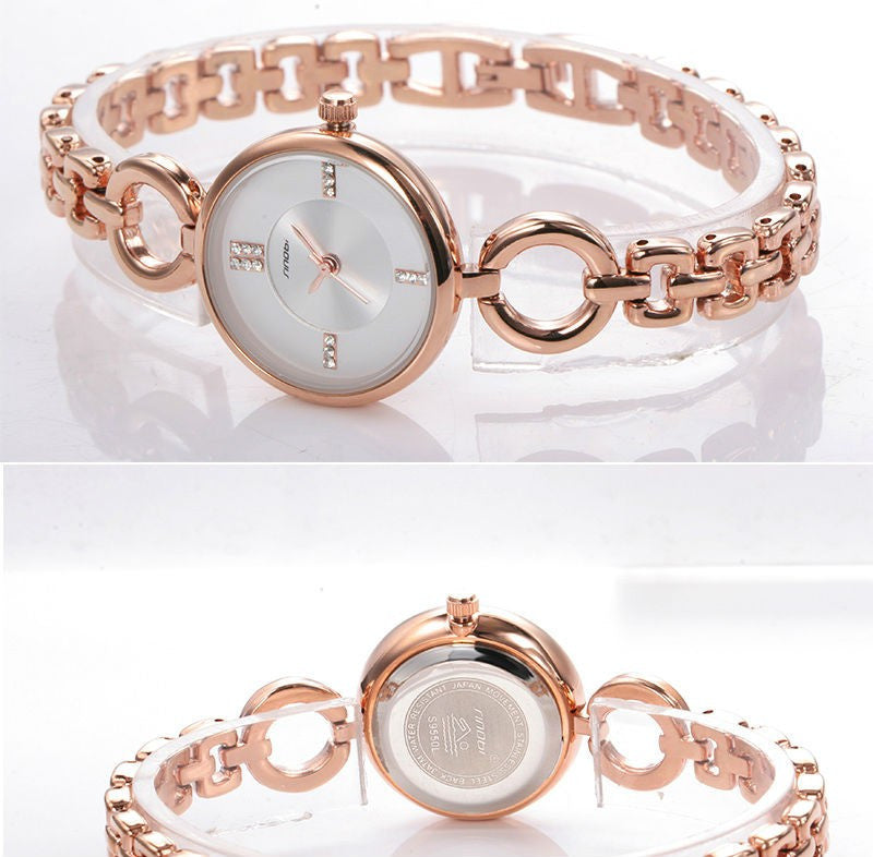 Relojes mujer 2016 Luxury Rose Gold clock female Quartz Women Watches Ladies Silver Dress girl Bracelet Wristwatch Sinobi Brand