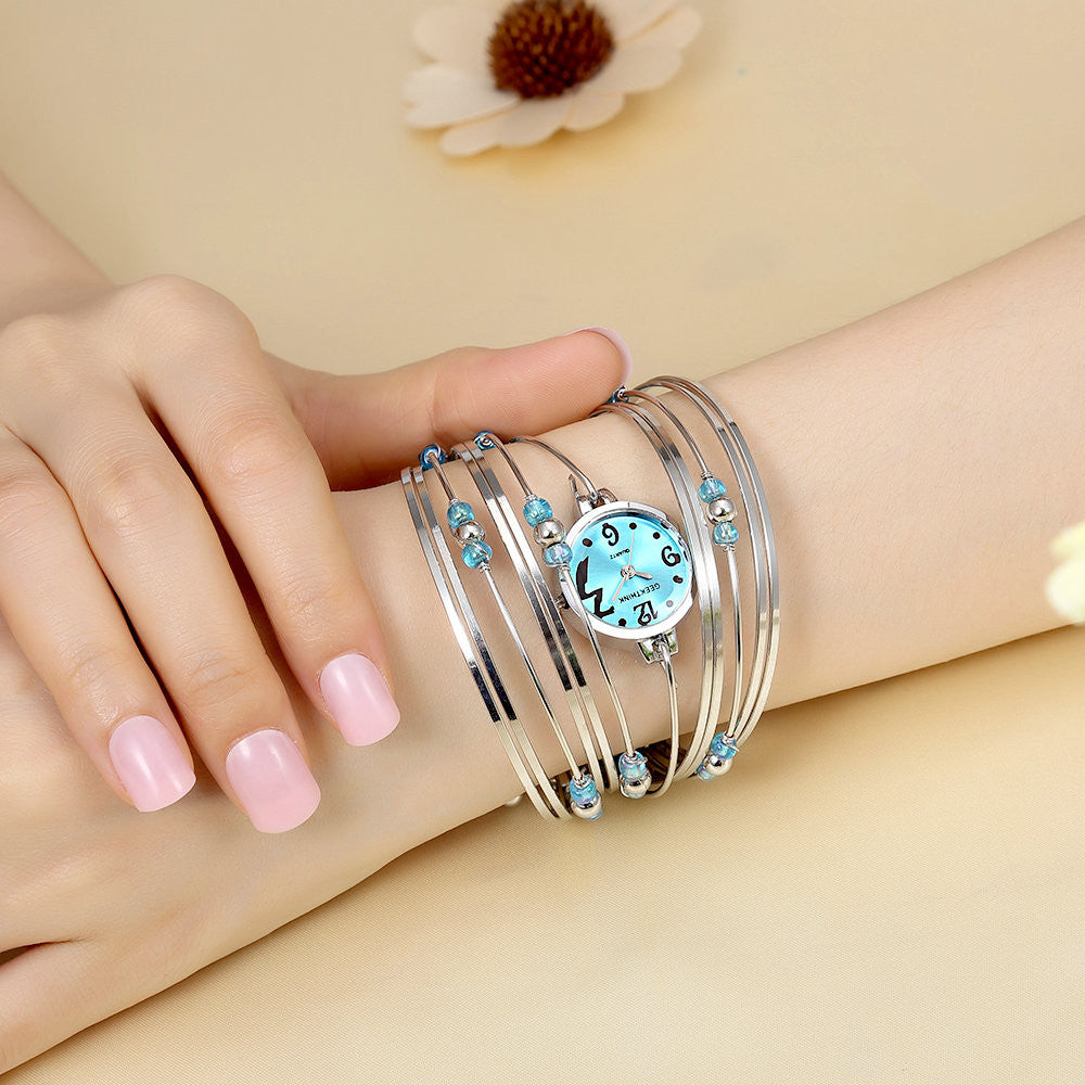 Bohemian Style Luxury Brand Quartz Watch Women Bracelet Ladies Casual Dress Beads Decor Wristwatch Clock Female Girls