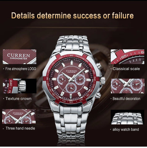 Image of Luxury Men's Black Full Steel Casual Sport Clock Watch Men Quartz Male Silver Military Men Wristwatch Rolojes hombre