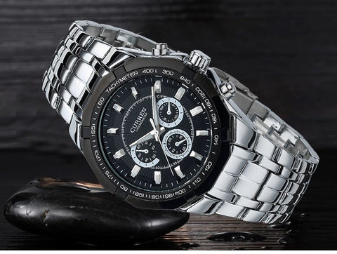 Luxury Men's Black Full Steel Casual Sport Clock Watch Men Quartz Male Silver Military Men Wristwatch Rolojes hombre