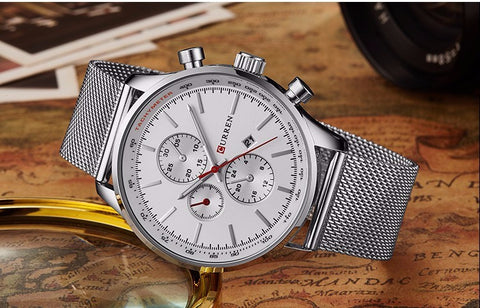 New Watches Luxury Top Brand Men Watch Full Steel Fashion Quartz-Watch Casual Male Sports Wristwatch Date Clock Relojes