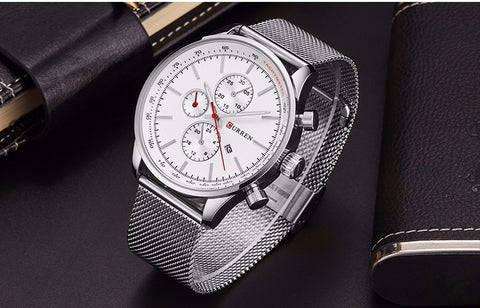 Image of New Watches Luxury Top Brand Men Watch Full Steel Fashion Quartz-Watch Casual Male Sports Wristwatch Date Clock Relojes