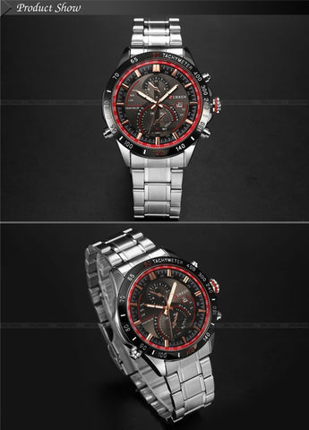Image of Hot watch men luxury brand 8149 clock reloj relogio masculino military quartz watch full stainless steel men wristwatch