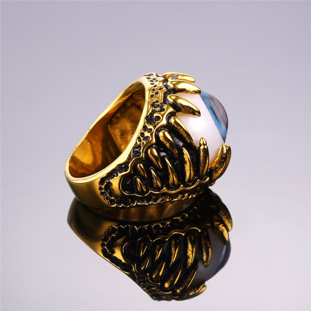 Biker Ring Blue Amulet Gold Color Stainless Steel Turkish Eye Rock Punk Men Jewelry Gift Illuminati Rings Trendy R348