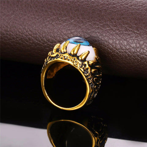 Image of Biker Ring Blue Amulet Gold Color Stainless Steel Turkish Eye Rock Punk Men Jewelry Gift Illuminati Rings Trendy R348
