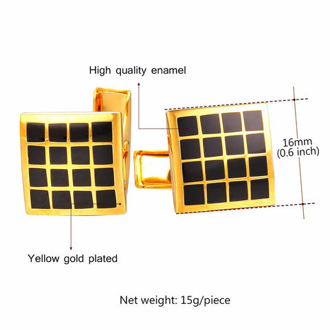 Image of Brand Cufflinks For Mens High Quality Gold Color Trendy Checker Square Enamel Men Suit Jewelry & Cuff Link Gift Box C022