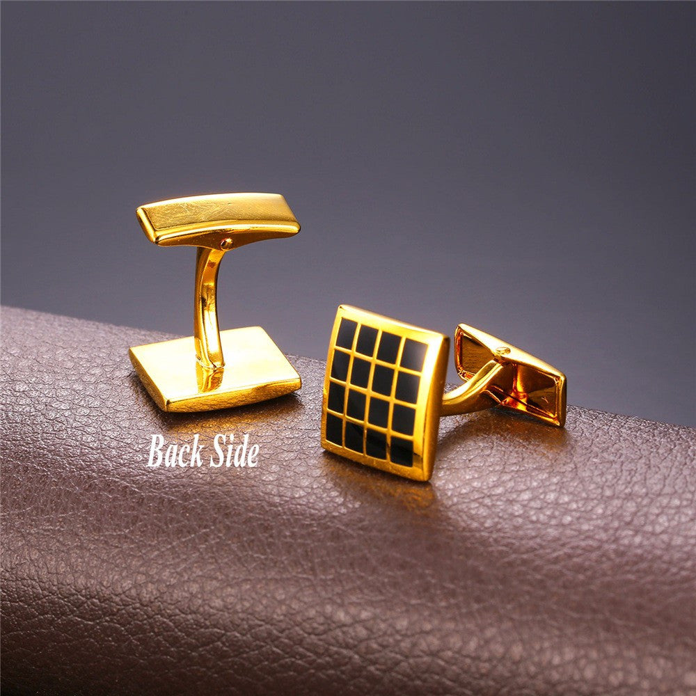 Brand Cufflinks For Mens High Quality Gold Color Trendy Checker Square Enamel Men Suit Jewelry & Cuff Link Gift Box C022