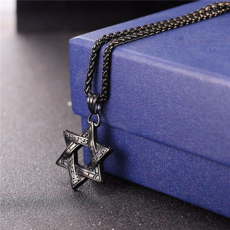 Jewish Magen Star Of David Pendant Necklace Men/Women Chain Stainless Steel Silver/Gold Color Vintage Israel Jewelry P115