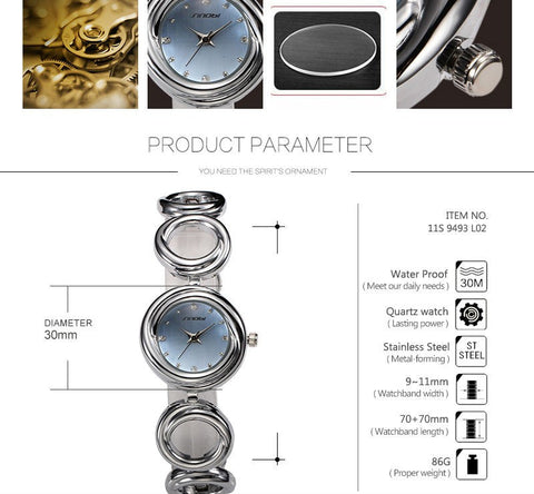 Image of Anqique Full Steel Women's Round Dial Analog Display Stylish Quartz Wrist Watch Bracelet Hour clock Lady Girl Gift