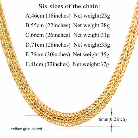 Image of Brand Men Necklace Fashion Rapper Jewelry Rose Gold/Black/Gold Color 6MM Unique Choker/Long Classic Foxtail Chain N363