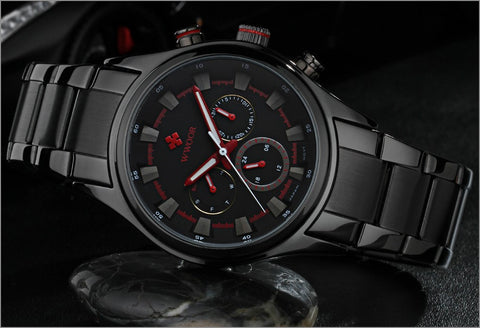 Top Brand Luxury Men Sports Watches Men's Quartz 24 Hours Date Clock Male Waterproof Black Steel Strap Army Military Wrist Watch
