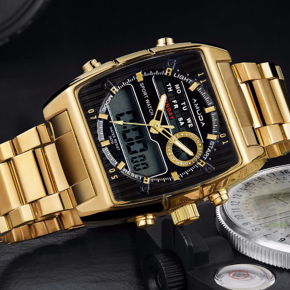 Golden Led Dual Display Watch