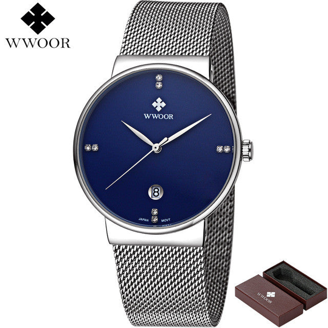 Brand Luxury Date Waterproof Quartz Watch Men Casual Sport Watches Male Black Stainless Steel Watch Slim Clock relogio masculino