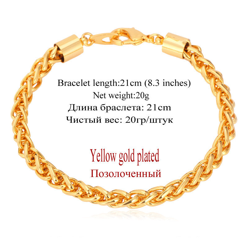 Wheat Chain Link Bracelet Men Jewelry Wholesale Gold Color 21CM 6MM Bracelet Trendy H565