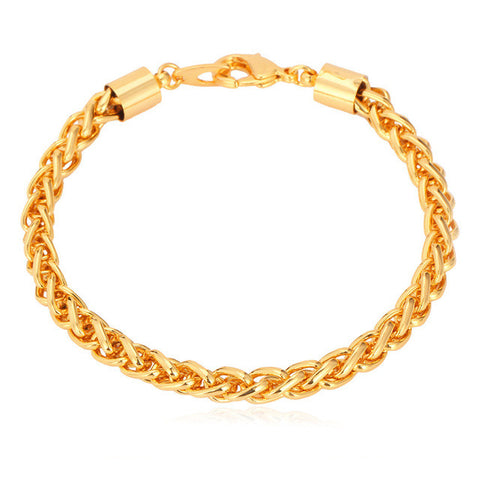 Image of Wheat Chain Link Bracelet Men Jewelry Wholesale Gold Color 21CM 6MM Bracelet Trendy H565