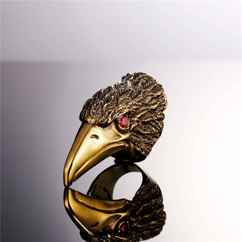 Brand Men Jewelry Eagle Beak Cocktail Rings Gold Color Stainless Steel Big Vintage Party Ring Rock Punk Male 2017 Hot R1003