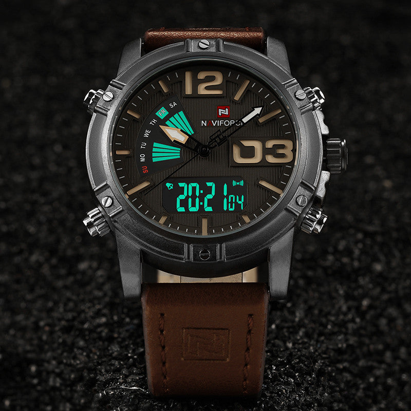 2017 New Top Luxury Brand Analog Led Watches Men Leather Quartz Clock Men's Army Military Sports Wrist Watch Relogio Masculino