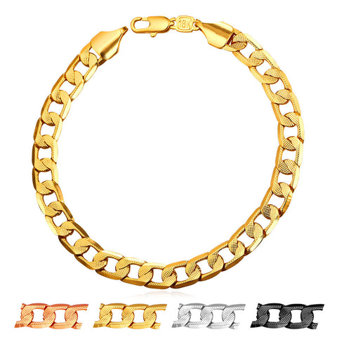 Brand Bracelet Men Hand Chain Gold Color Jewelry Trendy 21cm 7mm Vintage Cuban Link Bracelet H895
