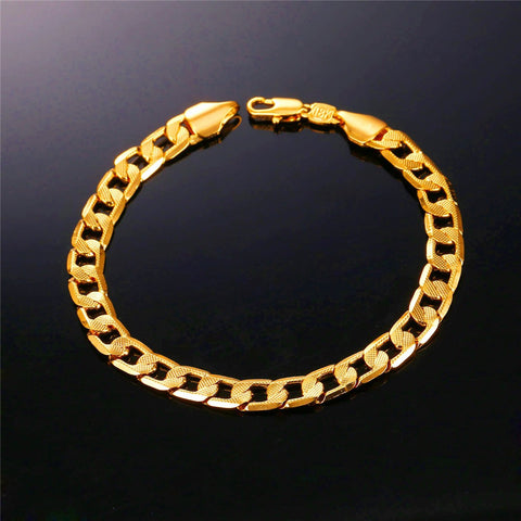 Image of Brand Bracelet Men Hand Chain Gold Color Jewelry Trendy 21cm 7mm Vintage Cuban Link Bracelet H895