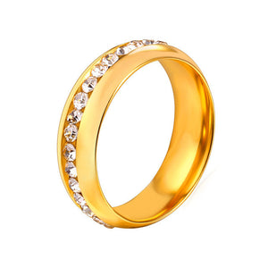 New Crystal Band Rings Men/Women Jewelry Channel Setting Trendy Stainless Steel Engagemant Wedding Rings Wholesale R439