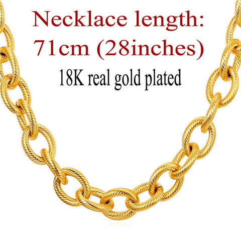 Kpop Statement Necklace Black Gun Gold Color Stainless Steel 13MM Chain Choker/Long Chunky Necklace For Men Jewelry N562