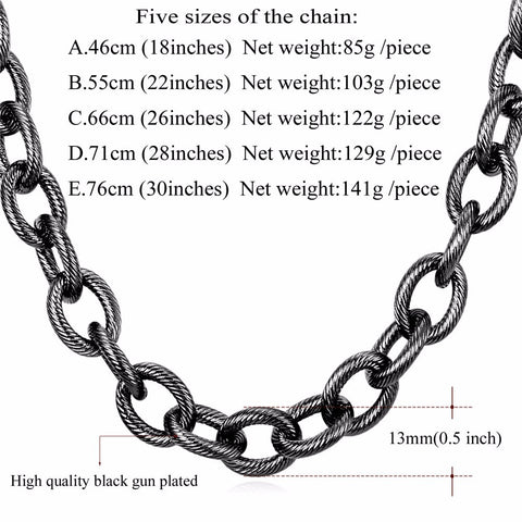 Image of Kpop Statement Necklace Black Gun Gold Color Stainless Steel 13MM Chain Choker/Long Chunky Necklace For Men Jewelry N562