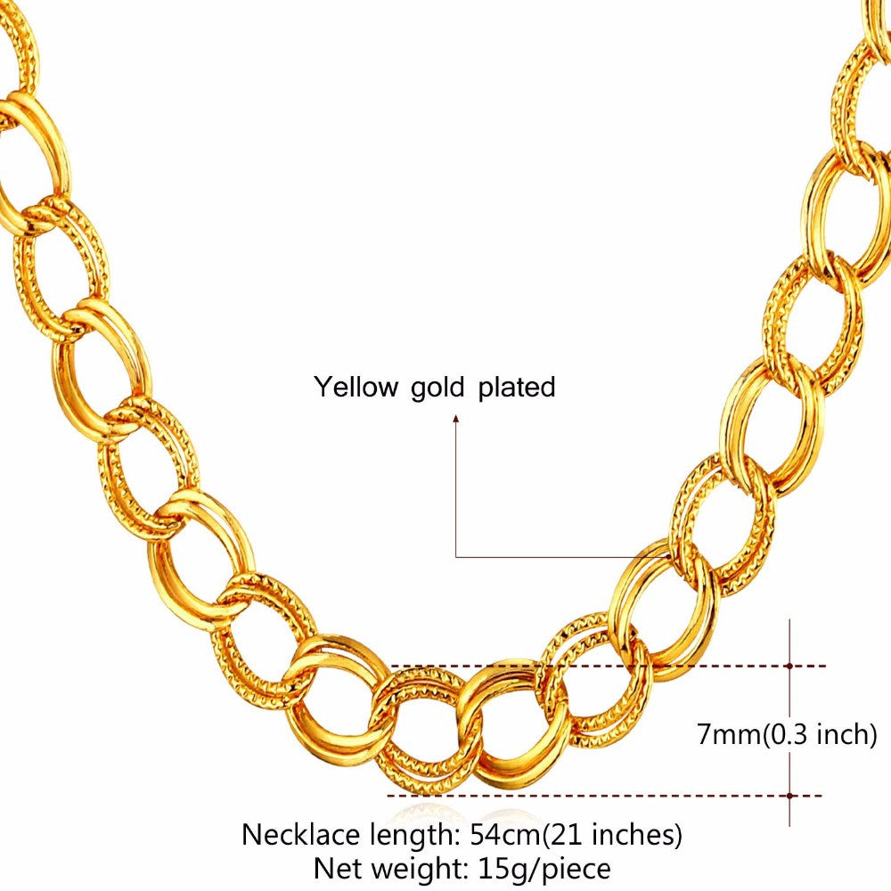 Limited Sale Chunky Men Hip Hop Jewelry Gift For BF Trendy Gold Color 7MM Width Punk Big Men Chain Necklace Wholesale N464