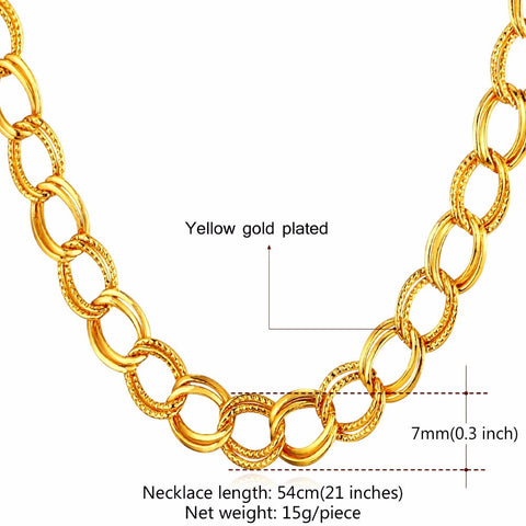 Image of Limited Sale Chunky Men Hip Hop Jewelry Gift For BF Trendy Gold Color 7MM Width Punk Big Men Chain Necklace Wholesale N464